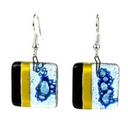 Global Crafts Handmade Women's Square Glass Geometric Dangling Earrings (Chile)