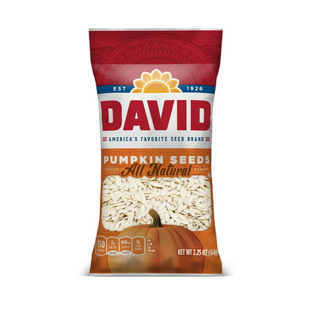 DAVID Roasted and Salted Pumpkin Seeds 2.25 oz Dry Roasted Pumpkin Seeds