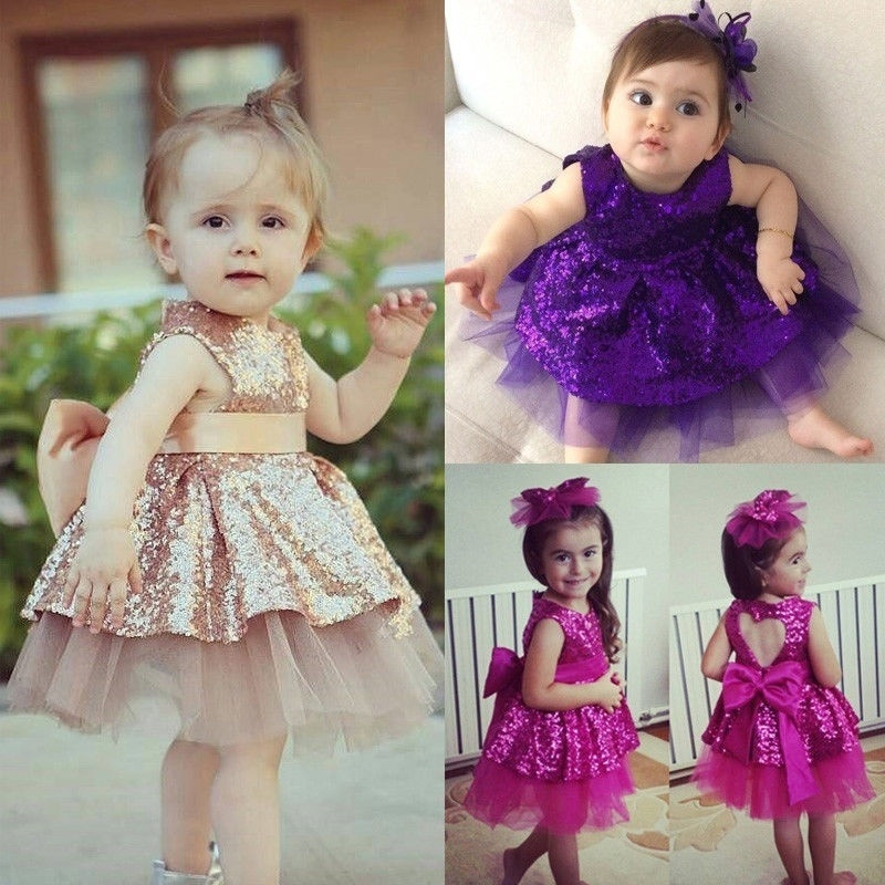 Fashion Princess Kids Baby Girls Sequins Dress Party Dress Wedding Gown  Formal Dresses