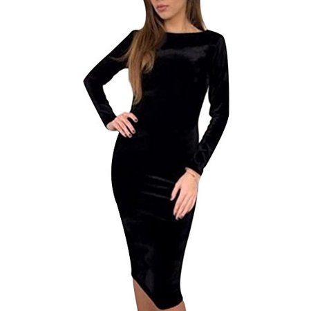 DYMADE Womens Cocktail Party Bodycon Lady Crushed Velvet Long Sleeve Midi Romper Dress