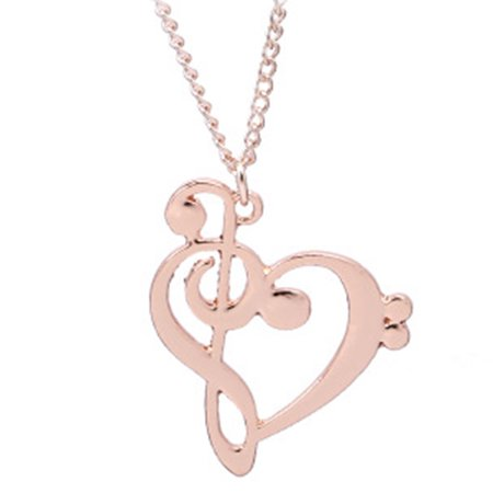 New Love Heart Treble Clef Music Note 925 Sterling Silver Pendant Necklace