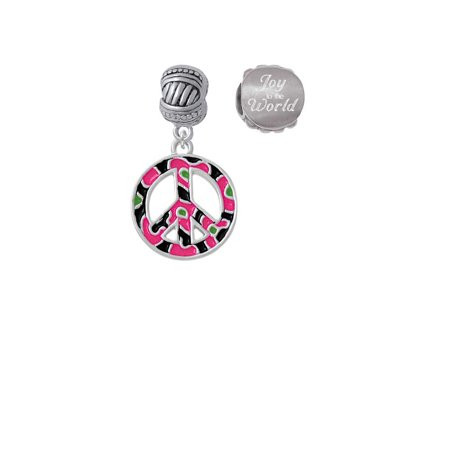 Silvertone Large Hot Pink Cheetah Print Peace Sign Joy to the World Charm Beads (Set of - The Pink Cheetah