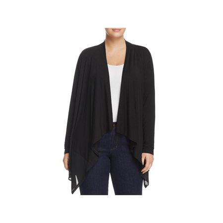 Avec Womens Plus Knit Cardigan Georgette Trim Cardigan Top Black -