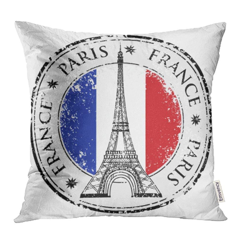 Paris Eiffel Tower Pillow 16 X 16: CMFUN French Paris Town In France Grunge Flag Stamp Eiffel