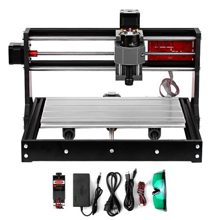 Upgrade Version CNC 3018 Pro GRBL Control DIY Mini CNC Machine 3 Pcb Milling Machine Wood Router Engraver with Offline Controller with ER11 and 5mm Extension Rod Working Area 300*180x40mm