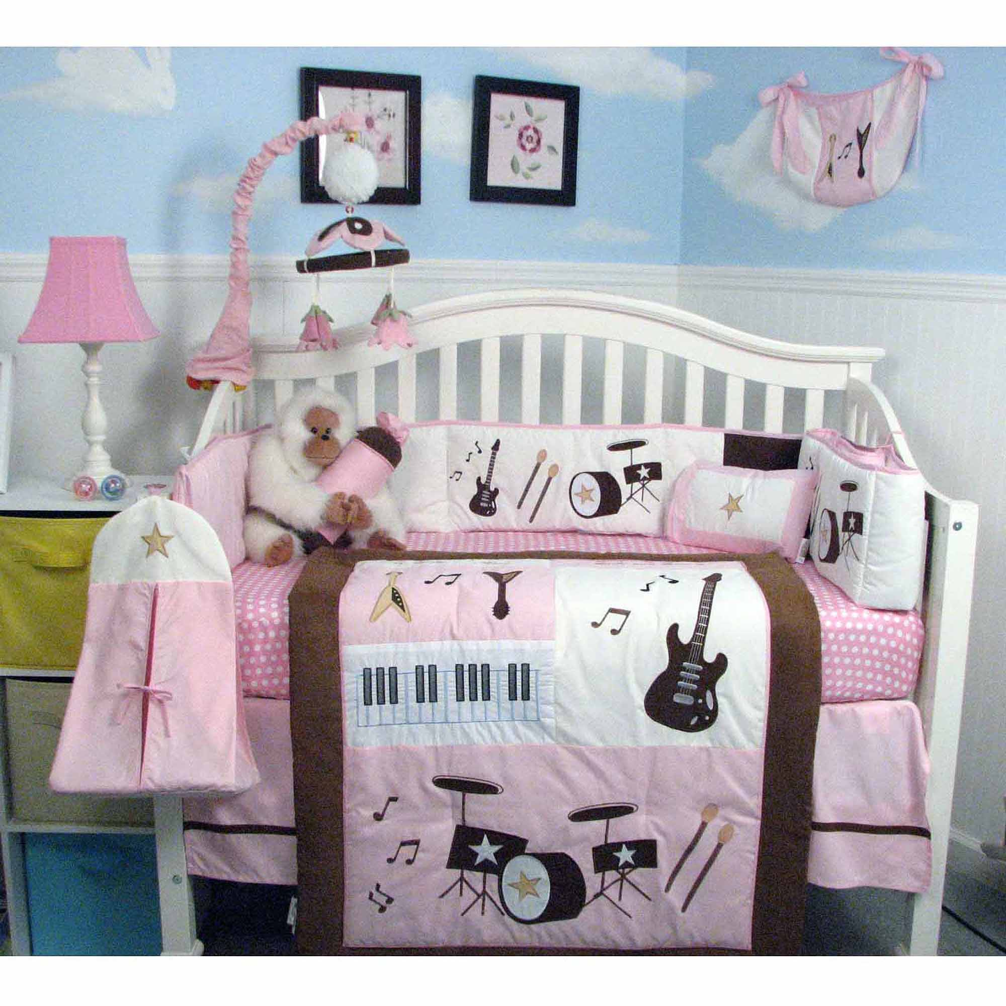 SoHo Pink and Brown Rock Band Baby Crib Nursery Bedding Set