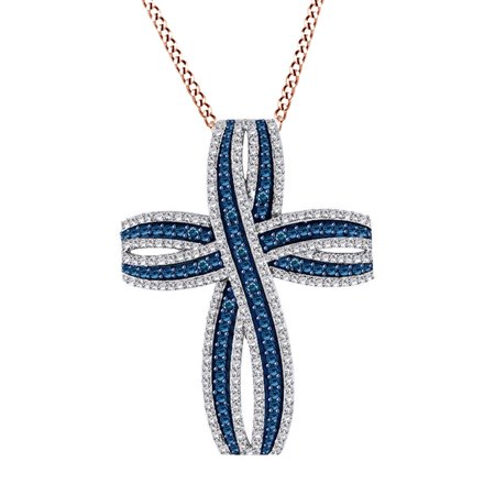0.47 Ct Simulated Blue Sapphire & Cubic Zirconia Loop Cross Pendant Necklace In 14K Rose Gold Over Sterling Silver Blue Sapphire Gold Cross