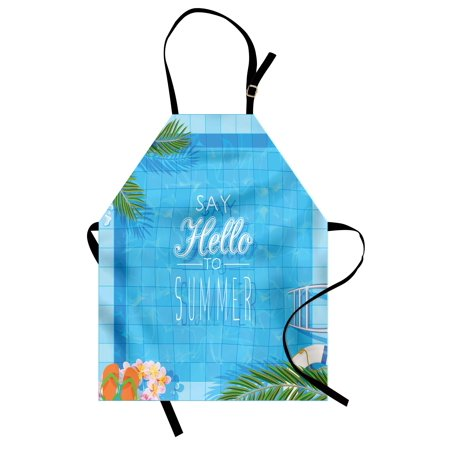 Quote Apron Say Hello to the Summer Slogan on a Pool with Ladder Flip Flops and Flowers Design, Unisex Kitchen Bib Apron with Adjustable Neck for Cooking Baking Gardening, Multicolor, by Ambesonne