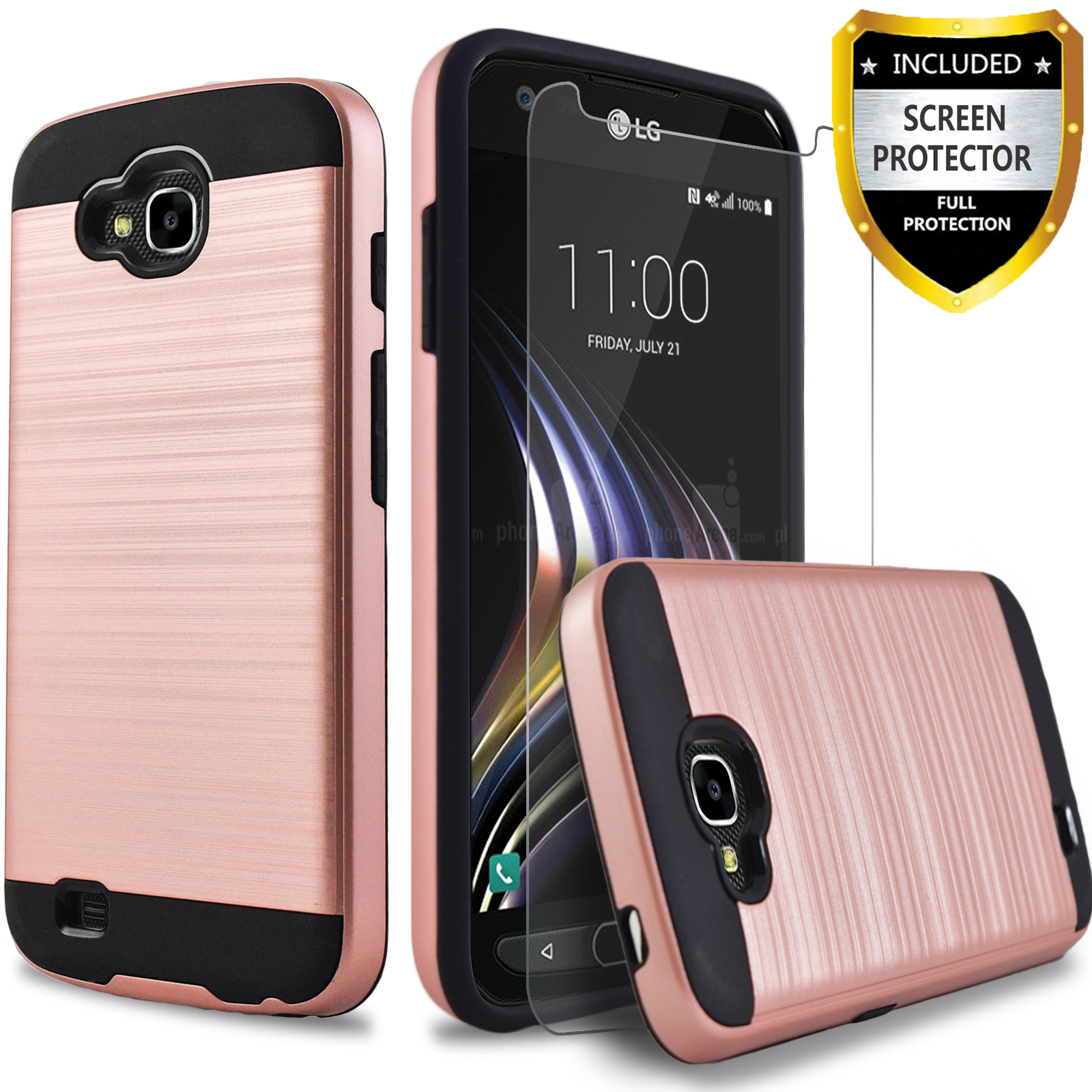 LG X Calibur Case , LG X Venture Case, 2-Piece Style Hybrid Shockproof Hard Case Cover with [Premium Screen Protector] Hybird Shockproof And Circlemalls Stylus Pen (Rose Gold)