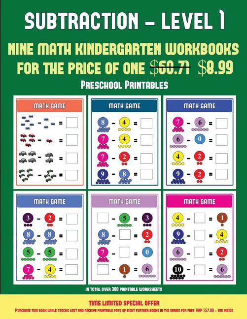 Pre K Printable Worksheets: Pre K Printable Worksheets (Kindergarten  Subtraction/taking Away Level 1) : 30 Full