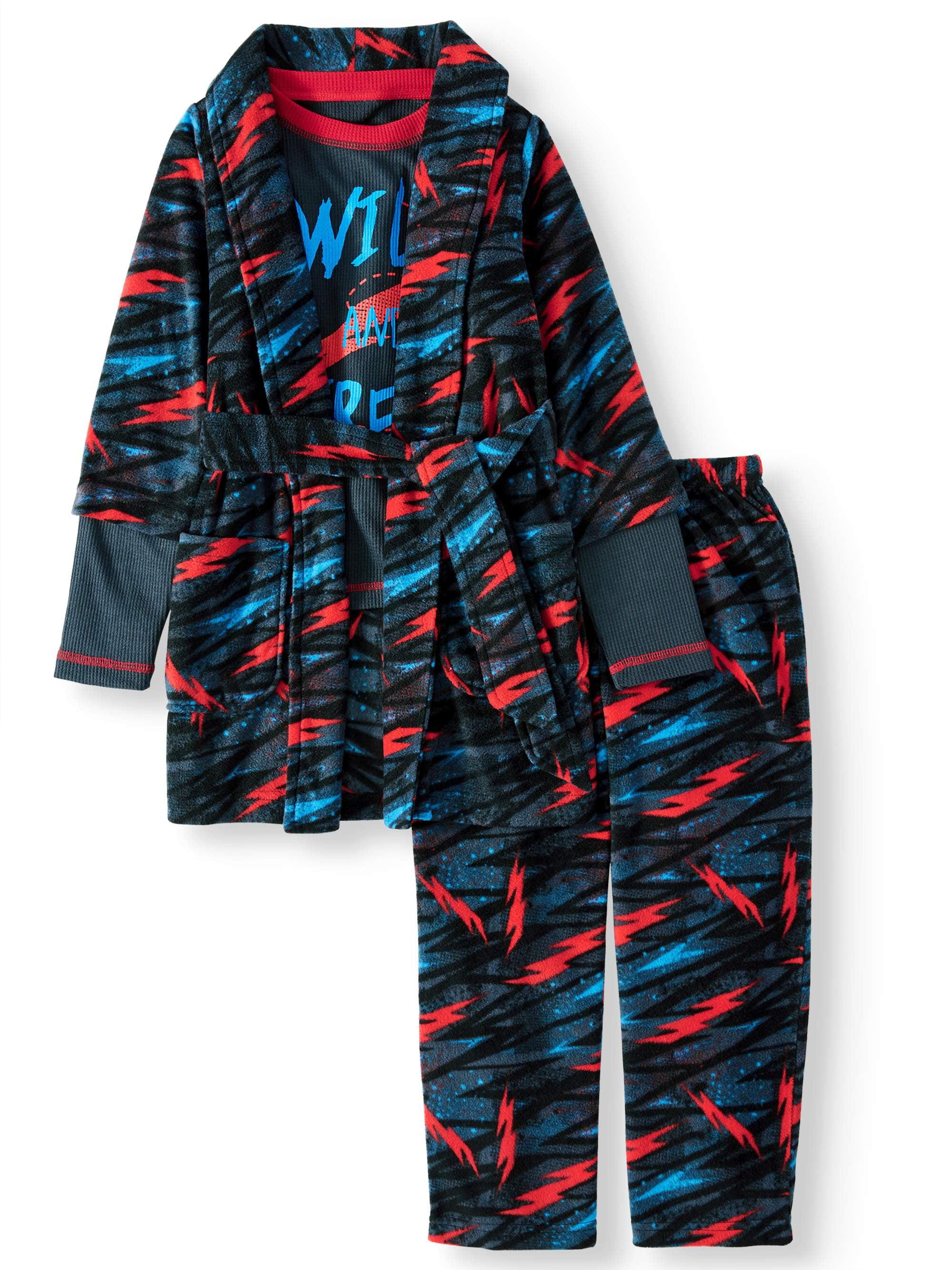 Wonder Nation Boys 3 pc Bathrobe Robe /& Pajamas Set