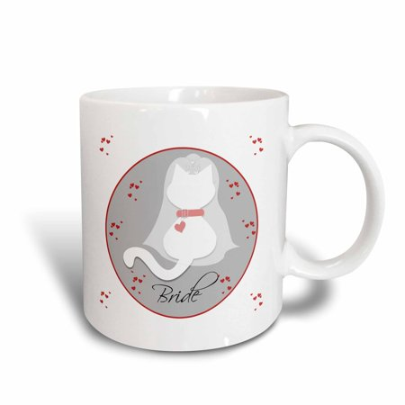 Red And White Wedding Ideas (3dRose Cute Red Hearts White Kitty Cat Wedding Bride - Ceramic Mug,)