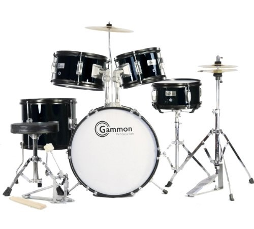 Complete 5-Piece Black Junior Drum Set with Cymbals Stands Sticks Hardware & Stool for Kids Children by Gammon Percussion