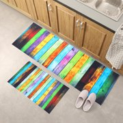 2pcs(16x24 inch+16x47 inch) Home Decor Non-Slip Rubber Backing Area Rugs /Runner /Kitchen Rug Sets