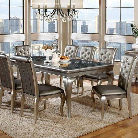Amina Contemporary Style Elegant Dining Table, Silver Contemporary Style Dining Table