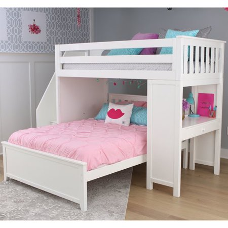 Zoomie Kids Alvarez Staircase Combo Twin Over Full L Shaped Bunk Bed