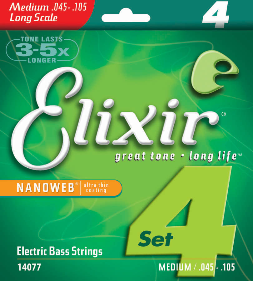 Elixir Nanoweb 4-String Long-Scale Medium Gauge Bass Strings by W.L. Gore