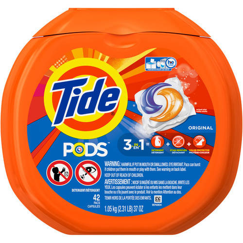 Tide PODS Original Scent HE Turbo Liquid Detergent Pacs, 42 count