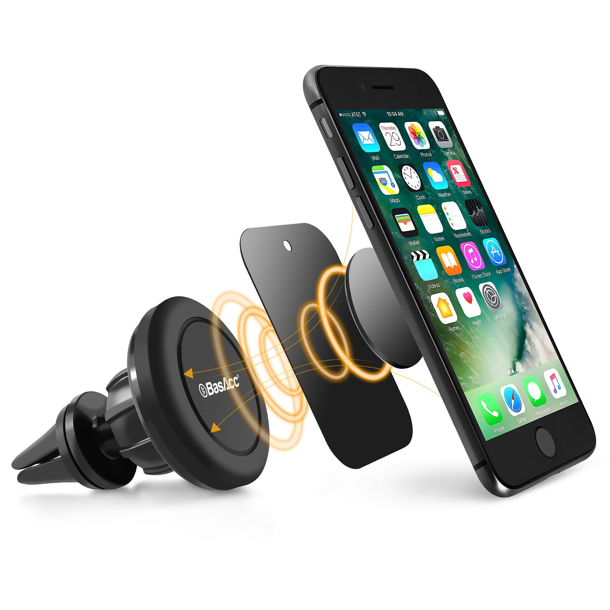 BasAcc Universal Magnetic Car Mount Phone Holder Air Vent For iPhone XS Max XR XS X 8 7 6S Plus Smartphone Samsung Galaxy S9 S8 S7 S6 LG V30 G6 Stylo 4 Cell Phone 360 Degree Rotating Joint Ball