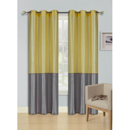 1pcYELLOW SILVER GRAY (EID) LINED FOAM BACKING BLACKOUT  Faux Silk Drape Panel Top Chrome Metallic Grommet Window Curtain Treatment Drape 2 Shade 37 wide x 84 length ()
