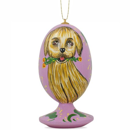 35 golden retriever dog with flower wooden christmas ornament