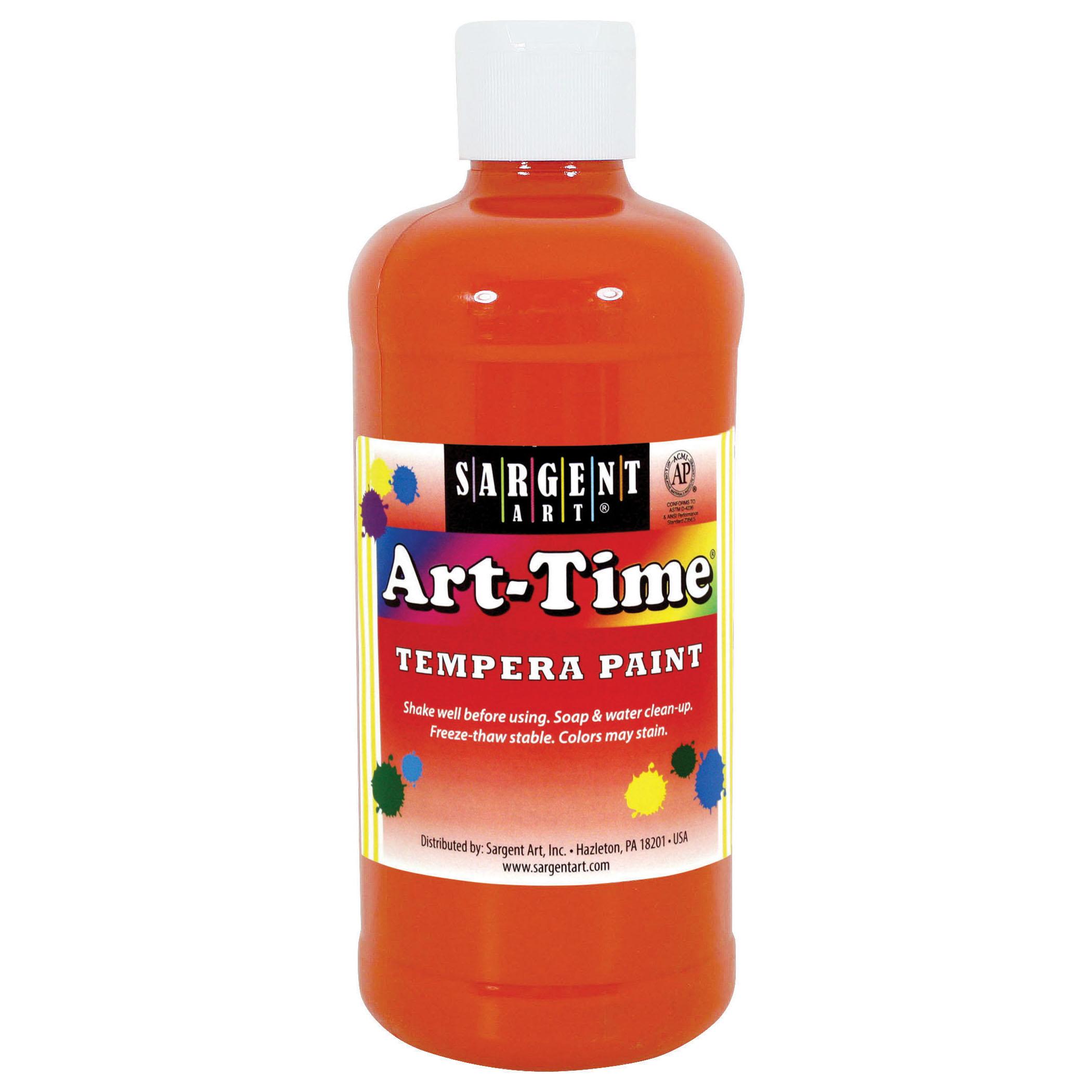 Art-Time® Tempera Paint, Orange - 16 oz., 12/pkg