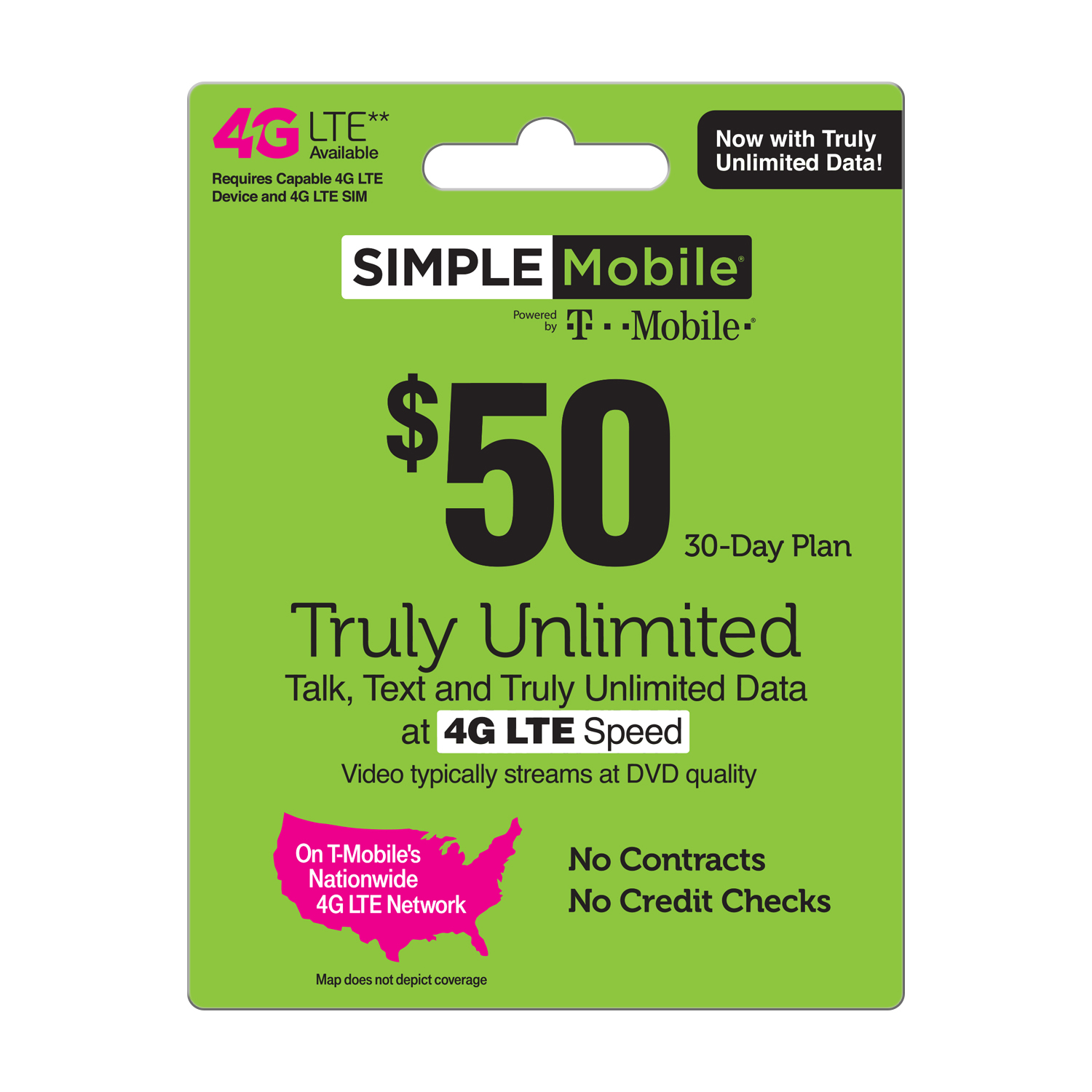 Simple Mobile $50 TRULY UNLIMITED 4G LTE** Data, Talk & Text 30-Day Plan  (Video typically streams at DVD quality) (Email Delivery)
