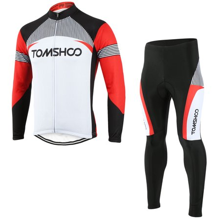 TOMSHOO Spring Autumn Men Cycling Clothing Set Sportswear Road Mountain Bicycle Bike Outdoor Full Zip Long Sleeve Cycling Jersey + 3D Padded Pants Trousers Breathable