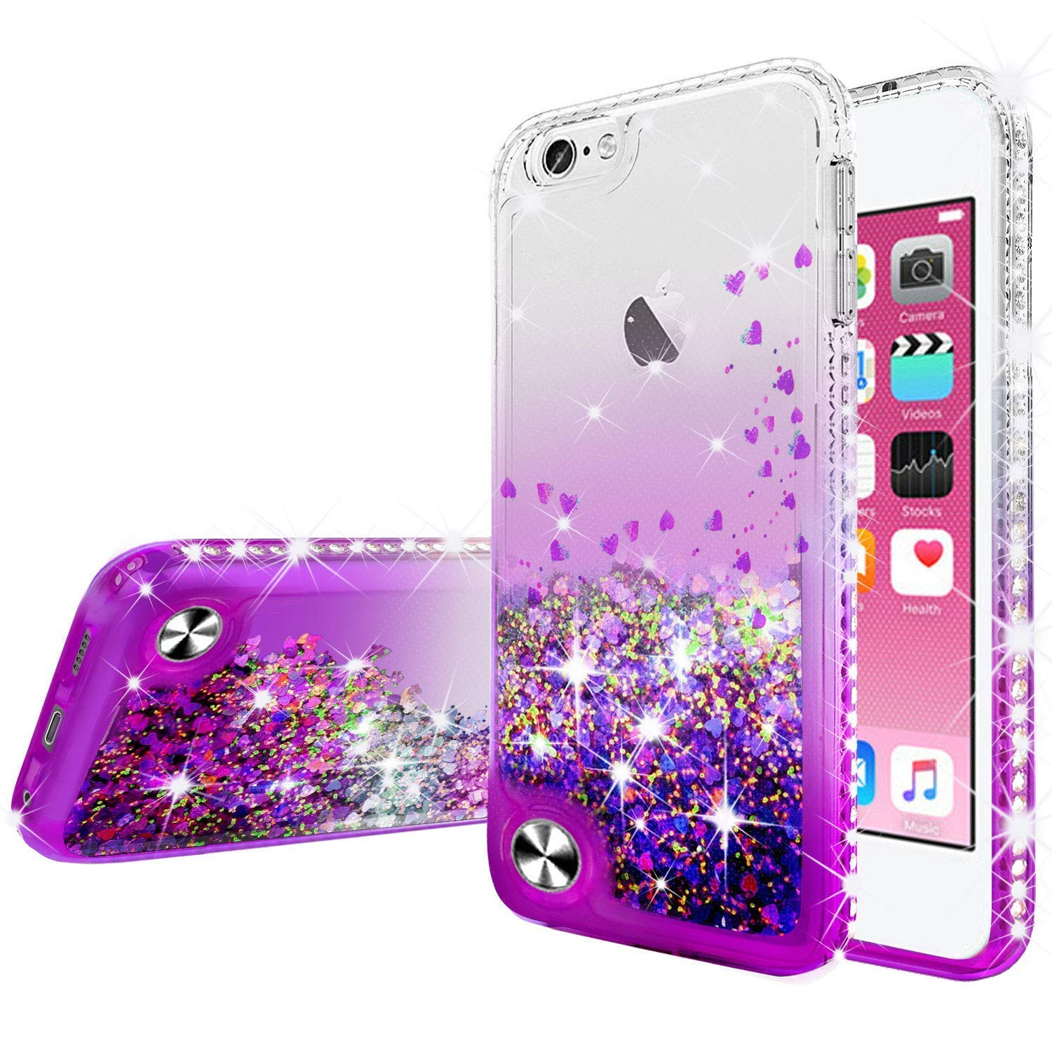 Soga Rhinestone Liquid Float Quicksand Cover Cute Phone Case
