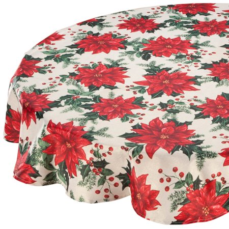 Poinsettia Table Topper (Poinsettia Metallic Fabric Tablecloth 60