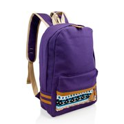 Fashion Women Canvas School Bag Girl Cute Satchel Travel School Backpack with Pattern Shoulder Rucksack - Purple