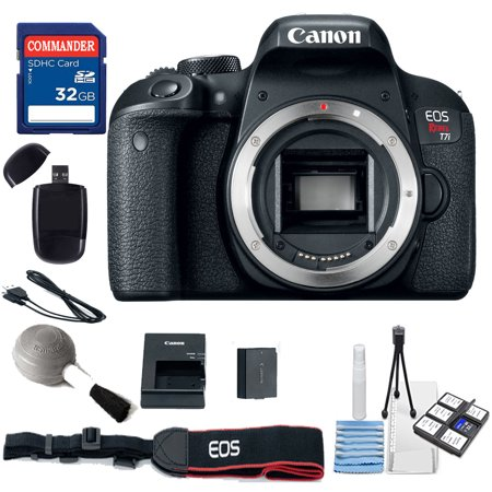 Canon EOS Rebel T7i Digital SLR Camera – WiFi ,NFC Body Only (No Lens) Kit + Commander 32GB Sd Card + More (Canon Digital Slr Camera Kit)