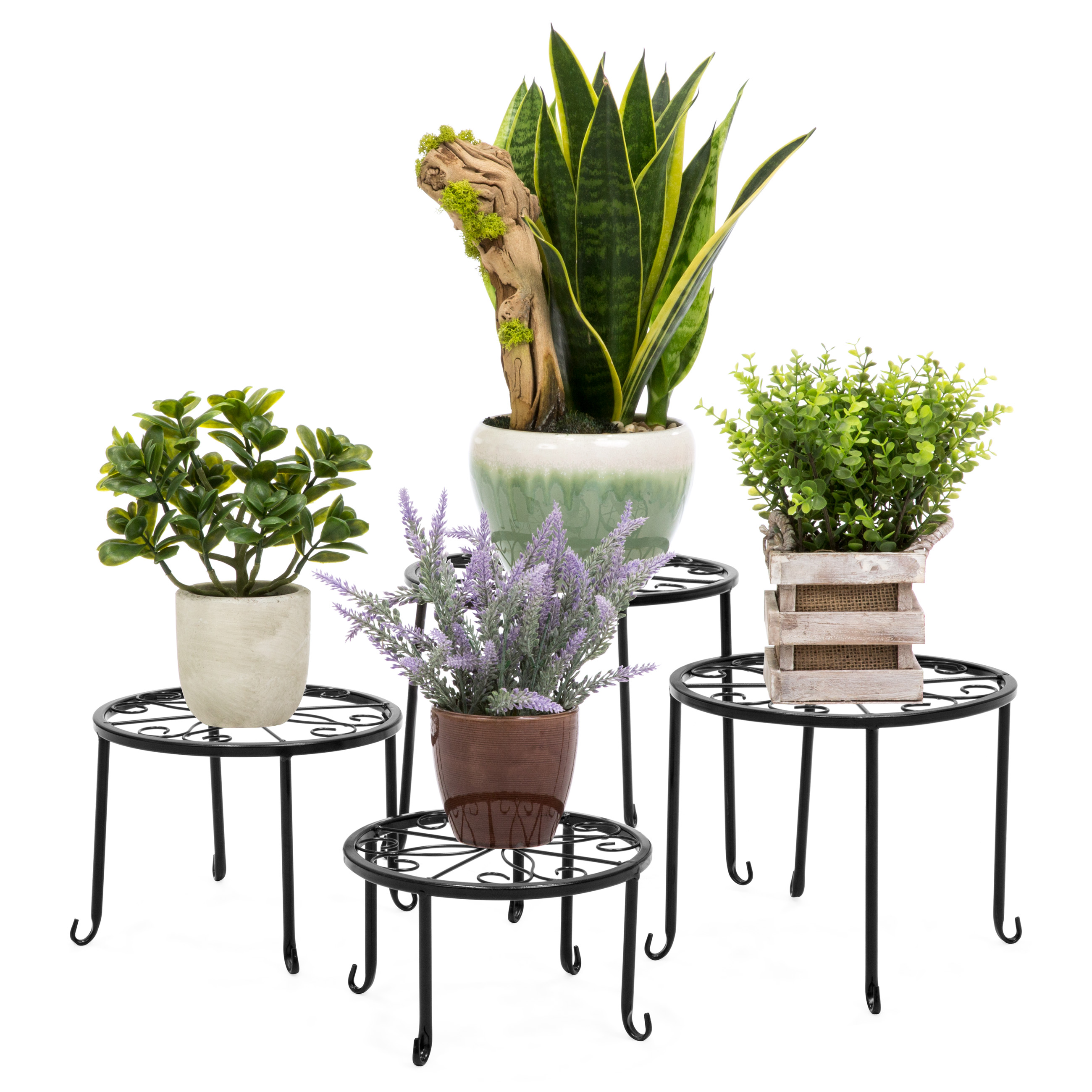 Black Best Choice Products 32in 2-Tier Indoor Outdoor Multi-Purpose Metal Flower Plant Pot Display Tray Shelf Stand
