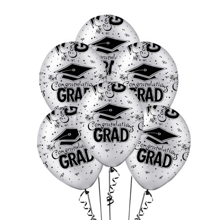 Graduation Balloons 11in Premium Latex Silver with All-Over print black Congrats-Grad Caps Pkg/50 - White Balloons With Glow Sticks