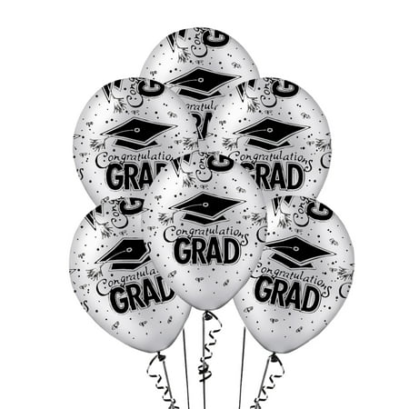 Graduation Balloons 11in Premium Latex Silver with All-Over print black Congrats-Grad Caps Pkg/50 (Balloons With Designs)