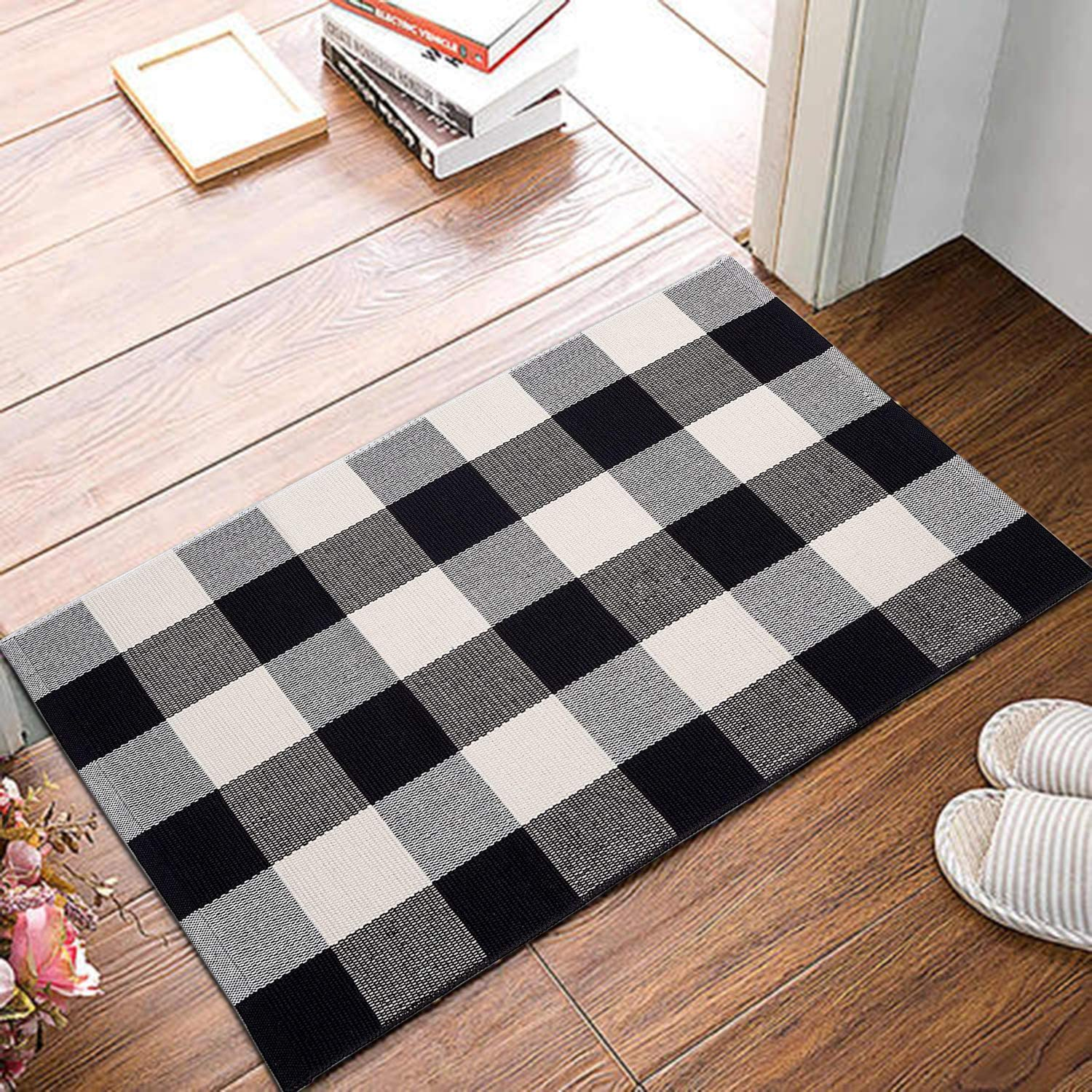 Cotton Buffalo Plaid Rugs Black And White Checkered Rug Welcome Door Mat 17 7 X27 5 For Kitchen Carpet Bathroom Outdoor Porch Laundry Living Room Braided Throw Washable Woven Check Walmart Com