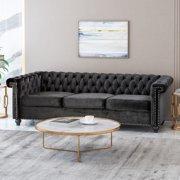 Noble House Conrado Tufted Chesterfield Velvet 3 Seater Sofa, Black and Dark Brown