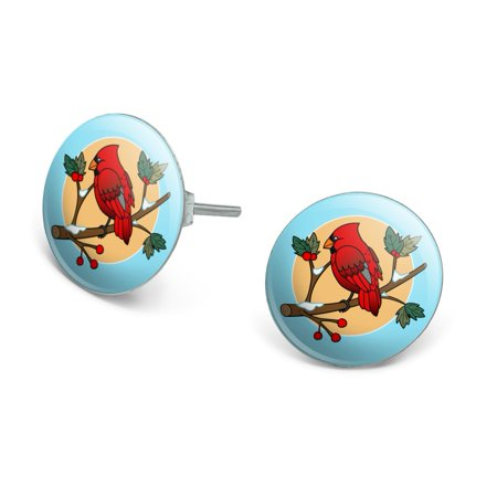 Red Cardinal on Snowy Holly Branch Novelty Silver Plated Stud Earrings