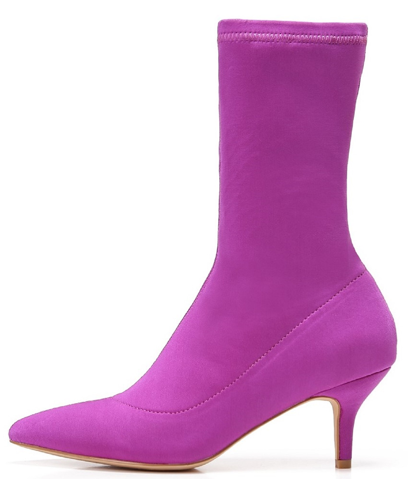 224-1 Elastic Stretchy Sock Ankle High Boots Kitten Heel Pointed Toe Purple