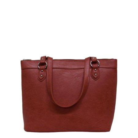 Texas Leather 500227RD Solid with Silver Accents Handbag, Red