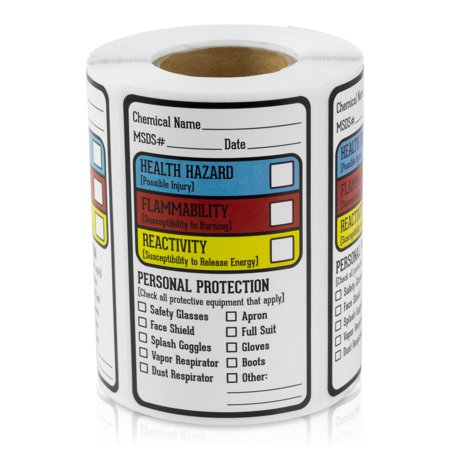 "OfficeSmartLabels 2.5"" x 1.5"" MSDS Right to Know Labels for Hazardous Warnings (Blue-Red-Yellow, 300 Labels per Roll)"