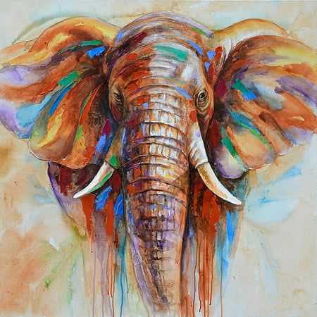 60 * 60cm HD Printed Frameless Elephant Head Canvas Painting Wall Art Pictures Decor for Home Living Room Bedroom