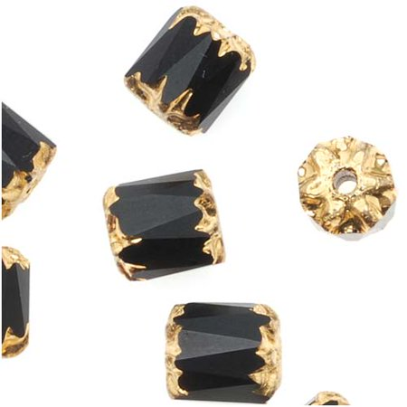Czech Cathedral Glass Beads 6mm Matte Jet Black with Gold Ends (25) Glass 6mm Heart Beads