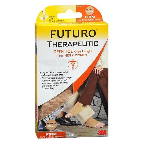 Futuro Therapeutic Support, Firm Compression Knee High, Open Toe, Beige, X-Large