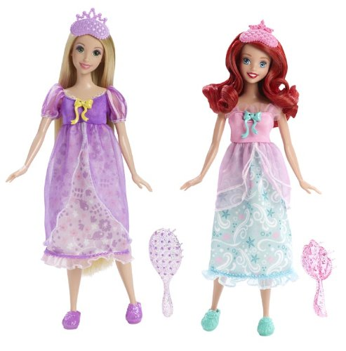 Mattel Disney Princess Royal Slumber Party Rapunzel and Ariel Doll 2-Pack - image 1 de 1