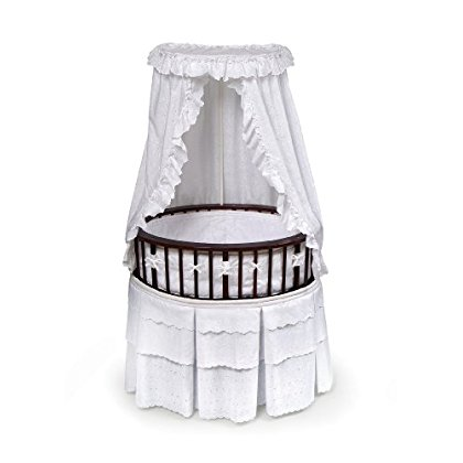 Badger Basket Elite Oval Baby Bassinet, Cherry with White Eyelet by Badger Basket