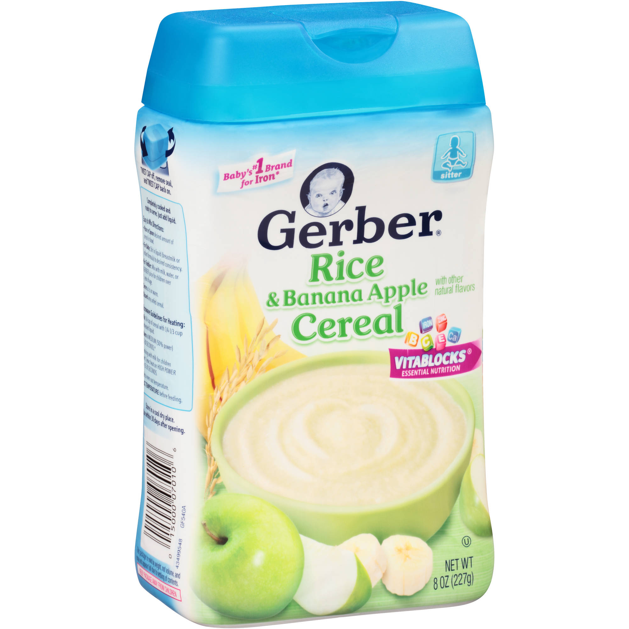 Gerber Rice Banana Apple Baby Cereal, 8 Ounce