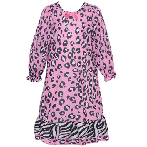 Laura Dare Little Girls Pink Leopard Spotted Long Sleeve Nightgown 2T-6X