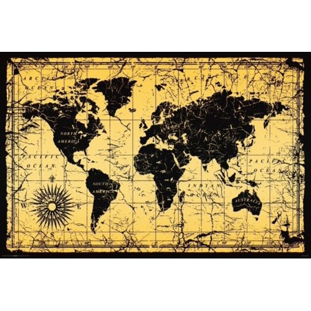 World Map Vintage Old Style Poster Poster Print