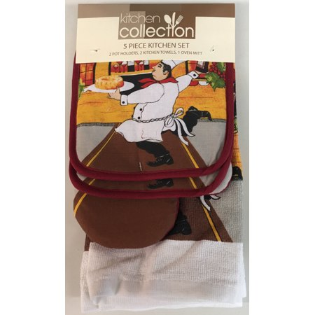Simplicity Oven Mitt - 5 Piece Set Includes 2 Kitchen Towels, 2 Pot Holders and 1 Oven Mitt, Italian Chef